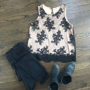 Francesca's Black and Tan Lace Detailed Tank Top